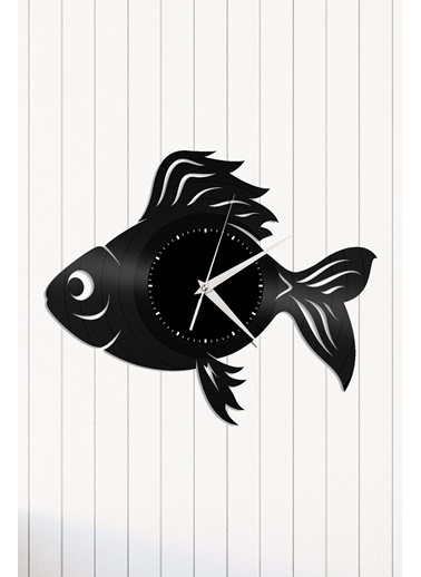 Angemiel Home Balık Pleksi Duvar Saati Siyah